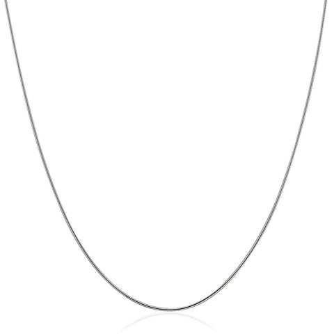 Sterling Silver Round Omega Style Chain Necklace with Rhodium Plating (1.25mm)