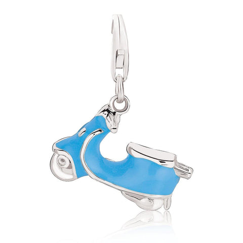 Sterling Silver Blue Enameled Scooter Charm