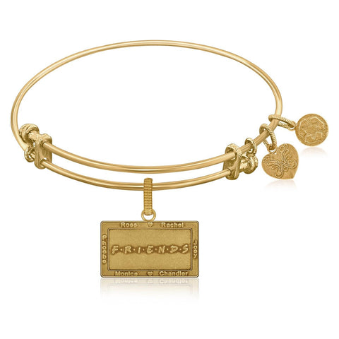 Expandable Bangle in Yellow Tone Brass with Friends Logo Symbol