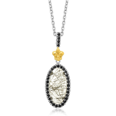 18K Yellow Gold & Sterling Silver Oval Rutilated Quartz and Black Spinel Pendant