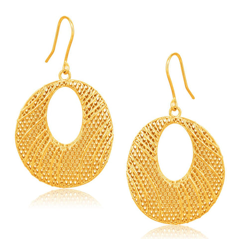 Italian Design 14K Yellow Gold Oval Lattice Earrings