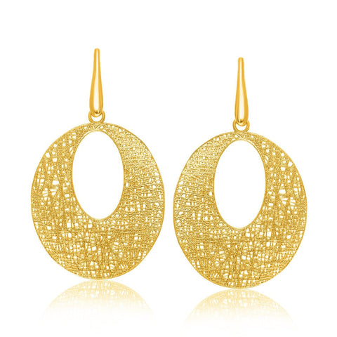 14K Yellow Gold Lace Weave Design Open Oval Earrings