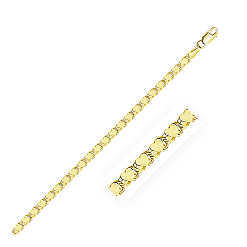 2.9mm 14K Yellow Gold Heart Bracelet