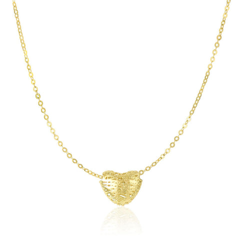 14K Yellow Gold Puffed Heart Design with Mesh Texture Necklace