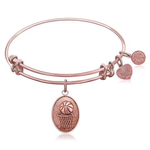Expandable Bangle in Pink Tone Brass with Basketball Symbol