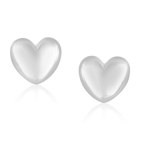 14K White Gold Puffed Heart Shape Shiny Earrings