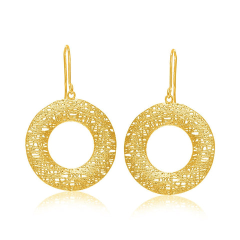 14K Yellow Gold Open Round Mesh Wire Style Earrings