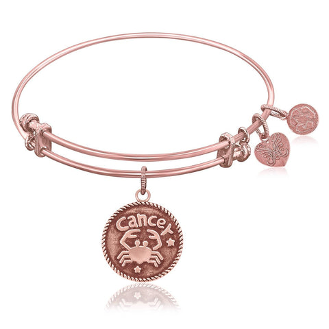 Expandable Bangle in Pink Tone Brass with Cancer Symbol