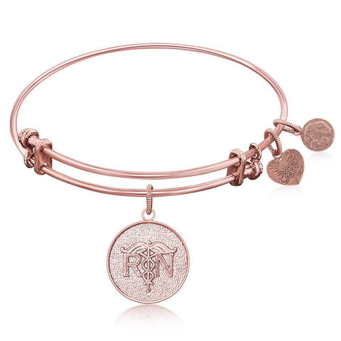 Expandable Bangle in Pink Tone Brass with Registered Nurse Care Compassion