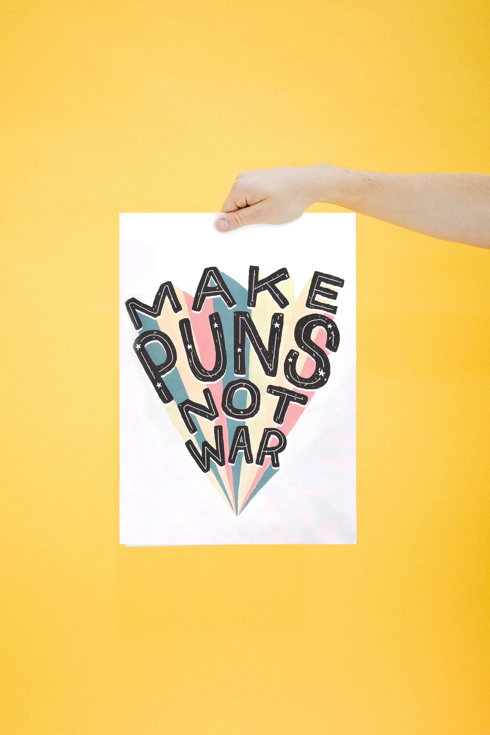 Evan Edinger Make Puns Not War Poster - A3