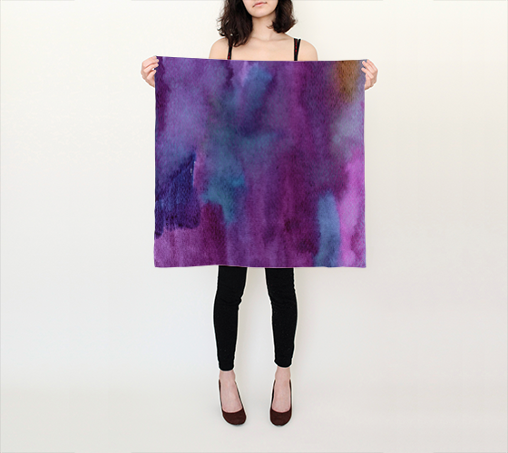 Violet Oceans Silk Small Scarf