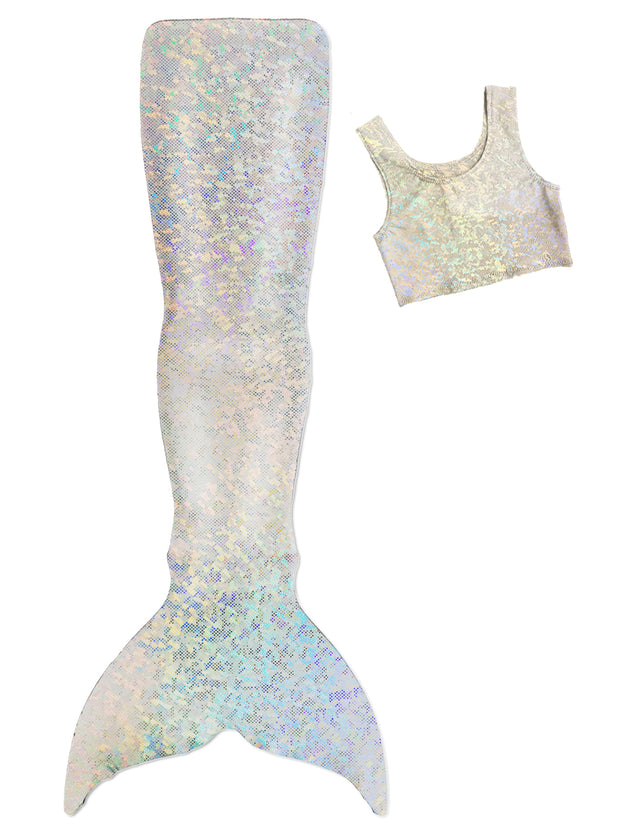 Markle's Silver Mermaid Tail with tankini top by ura mermaid