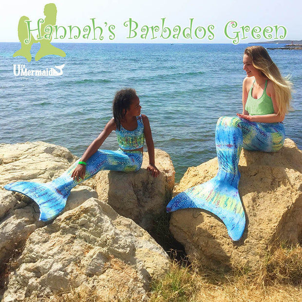 Hannah's Barbados Green Adult Mermaid Tail Skin For Use With The Olympic Monofin