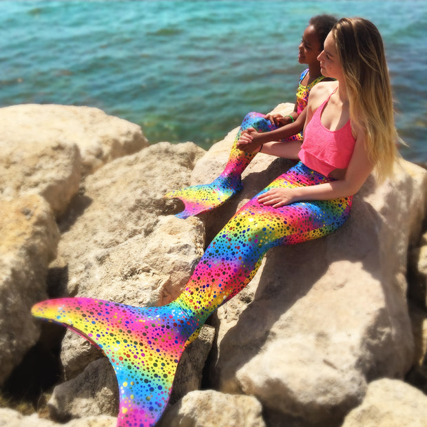 3pc Mermaid Tail set in Rihanna's Rainbow Bubbles by Uramermaid.com