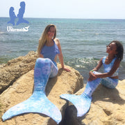 2 Mermaid Girls dressed in Uramermaid Mermaid costumes in Arabella's Moon Violet