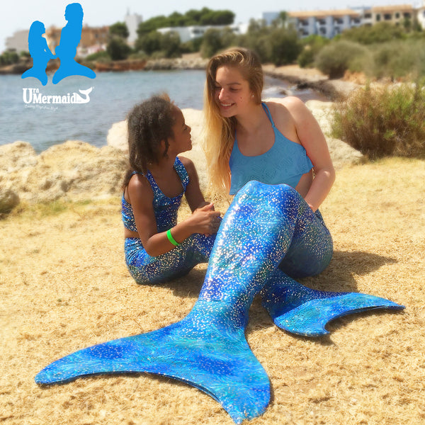 Estelle's Ocean Blue 5pc Mermaid Outfit - Inc Tail, Top, Briefs, Scrunchie and Monofin