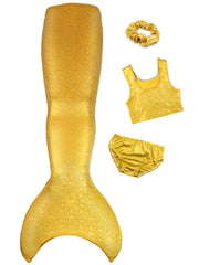 5pc Olympic Kids Gold mermaid tail with crop top by ura mermaid