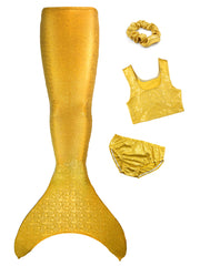 5pc Olympic Teen Gold mermaid tail with crop top by ura mermaid