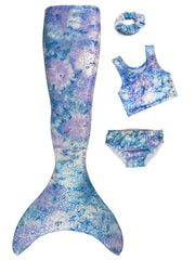Arabella's Moon Violet Kids Mermaid Tail, Top, Bottoms, Hair Scrunchie & Olympic Monofin