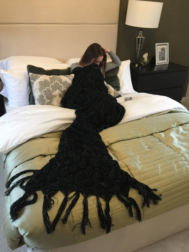 Adult Black and Silver Mermaid Blanket on a bed by Uramermaid