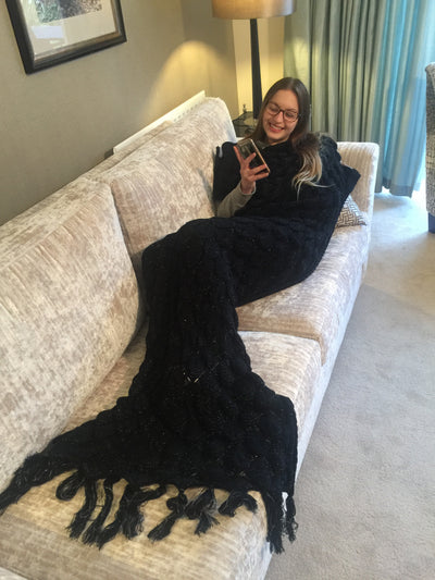 black mermaid tail blanket by uramermaid