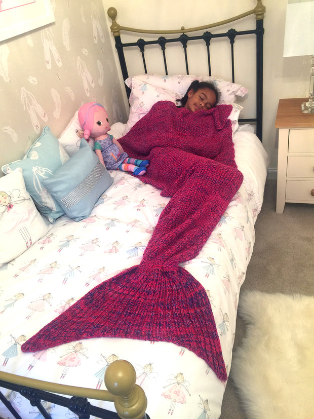 Pink Mermaid Tail Blanket In Soft Wool