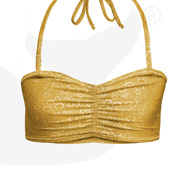 Mermaid Costume Bra Top in Aurelia's Gold Bubbles by Uramermaid.com