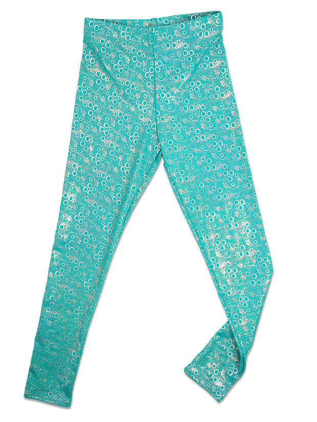 Jessica's Jade Bubble Leggings flat by Ura mermaid