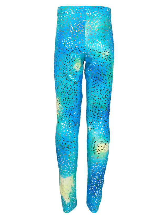 Kalani's Bahama Blue leggings back by Uramermaid.com