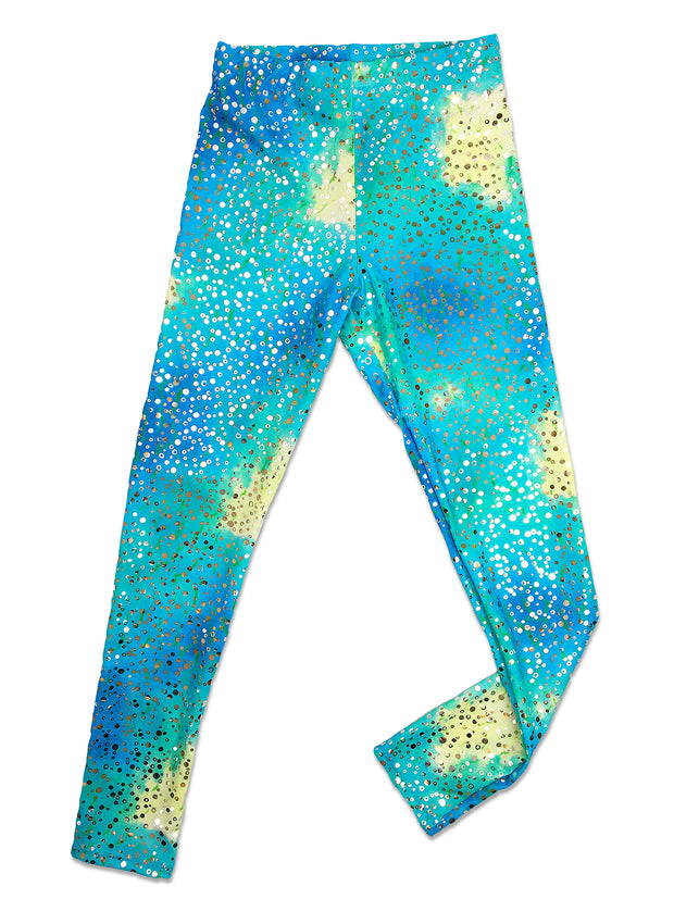Kalani's Bahama Blue leggings flat by Uramermaid.com