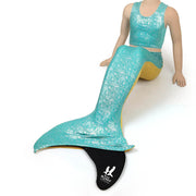 Jessica's Jade Green & Aurelia's Gold Bubbles Kids Reversible Mermaid Tail, Top & Olympic Monofin