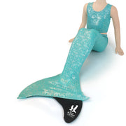 UraMermaid 3pc Mermaid Tail set in Jessica's Jade Bubbles - Includes Tankini Crop Top and Kids Olympic Monofin in Black