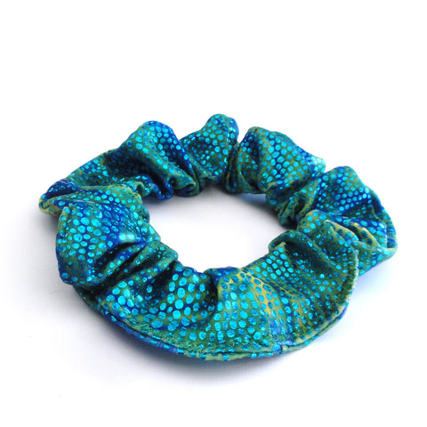 Turquoise Scales Hair Scrunchie