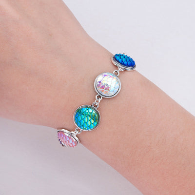 Fish Scale Mermaid Charm Bracelet on wrist