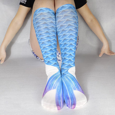 Digital Print Blue Scales Mermaid Print Knee High Socks For Teens / Adults