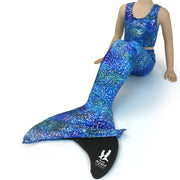 UraMermaid 3pc Mermaid Tail set in Estelle's Ocean Blue - Includes Mermaid Tail Skin, Crop Top and Olympic Monofin