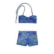 Uramermaid's Hot Pants set. Dancewear Shorts with Bikini Bra Top in Estelle's Ocean Blue fabric.