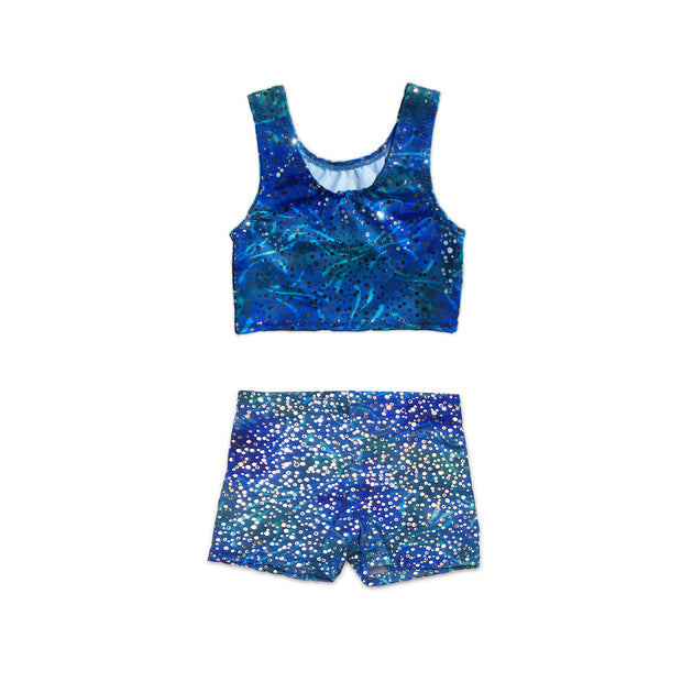 Uramermaid's Hot Pants set. Dancewear Shorts with Tankini Crop Top in Estelle's Ocean Blue fabric.