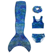UraMermaid 5pc Mermaid Tail set in Estelle's Ocean Blue - Includes Mermaid Tail Skin, Crop Top, Briefs, Hair Scrunchie and Olympic Monofin