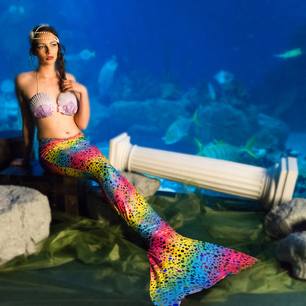 Rihanna's Rainbow Mermaid Tail for Finis Aquarius Monofin by UraMermaid.com