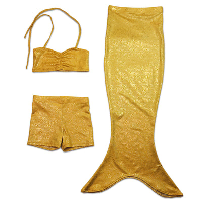 Aurelia's Gold Bubbles Kids Mermaid Play Tail With Bikini Top & Shorts