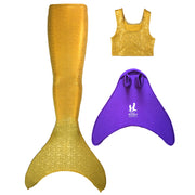 UraMermaid 3pc Mermaid Tail set in Aurelia's Gold Bubbles - Includes Tankini Crop Top and Teen+ Olympic Monofin in Purple
