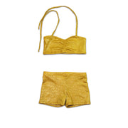 Aurelia's gold bubbles dancewear costume bra top and shorts - by UraMermaid.com