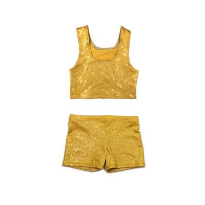 Aurelia's Gold bubbles dancewear tankini crop top and shorts - by UraMermaid.com