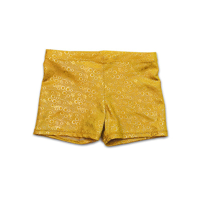 Dancewear shorts in Aurelia's gold bubbles by UraMermaid.com