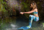 UraMermaid 3pc Mermaid Tail set in Hanna's Barbados Green - Includes Mermaid Tail Skin, Bra Top and Olympic Monofin