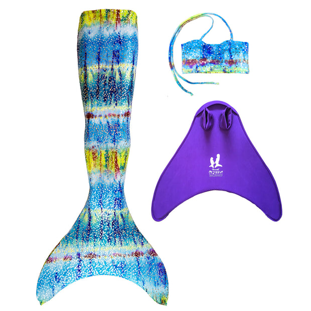UraMermaid 3pc Mermaid Tail set in Hanna's Barbados Green - Includes Mermaid Tail Skin, Costume Bra Top and Teen+ Olympic Monofin in Purple