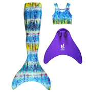 UraMermaid 3pc Mermaid Tail set in Hanna's Barbados Green - Includes Mermaid Tail Skin, Tankini Crop Top and Teen+ Olympic Monofin in Purple