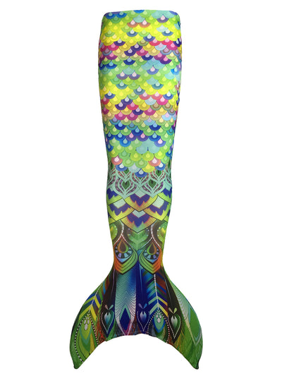 Digital Print Multicoloured Peacock Scales Kids Swimmable Mermaid Tail & Olympic Monofin