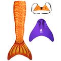 Orange Scales 3pc Mermaid Outfit - Inc Tail, Bra Top and Teen+ Olympic Monofin